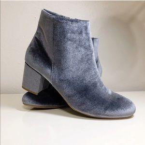 Merona Blue Velvet Booties - 11 EUC